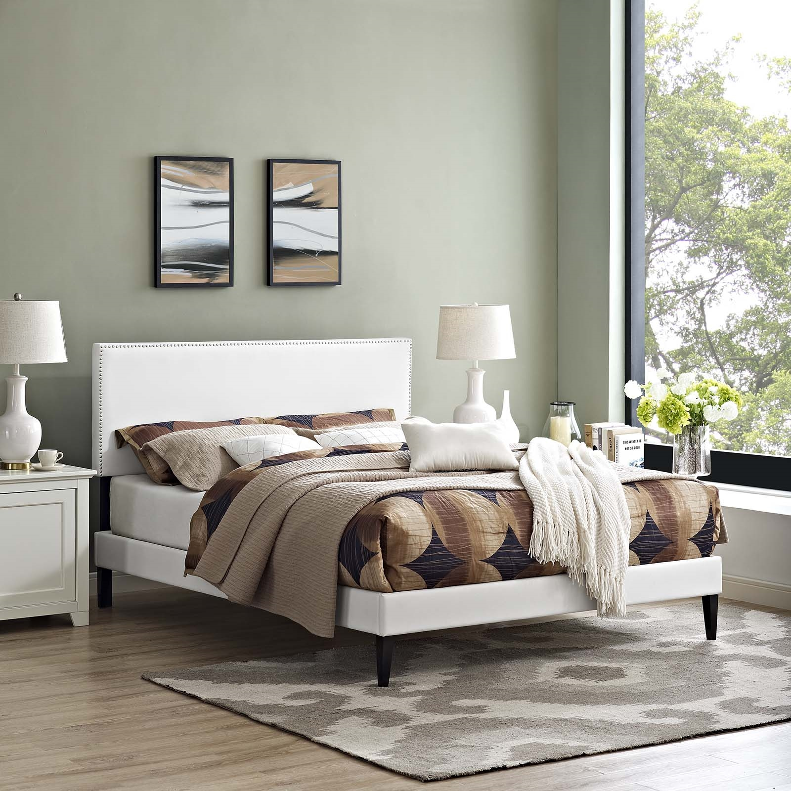 Macie King Vinyl Platform Bed with Squared Tapered Legs in White