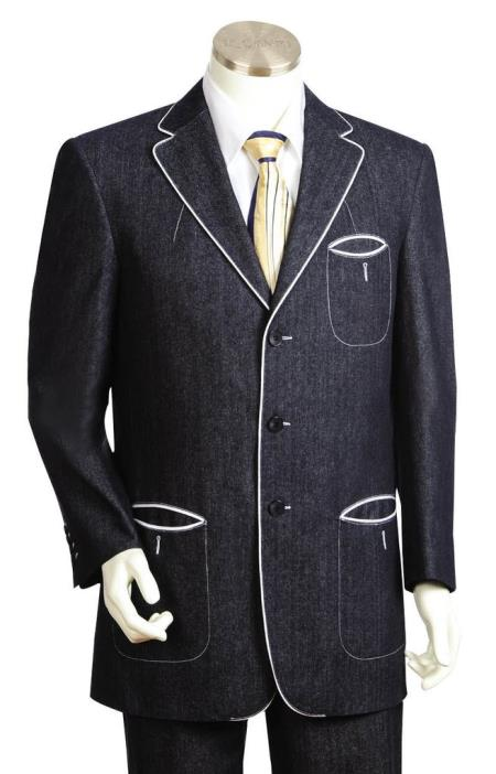 Mens Button Fastener Black Tri Pocket 2pc Suit and Pant