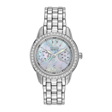 Citizen Eco-Drive Womens Silver-Tone Black Mother-of-Pearl Multifunction Watch FD1030-56Y, One Size , No Color Family