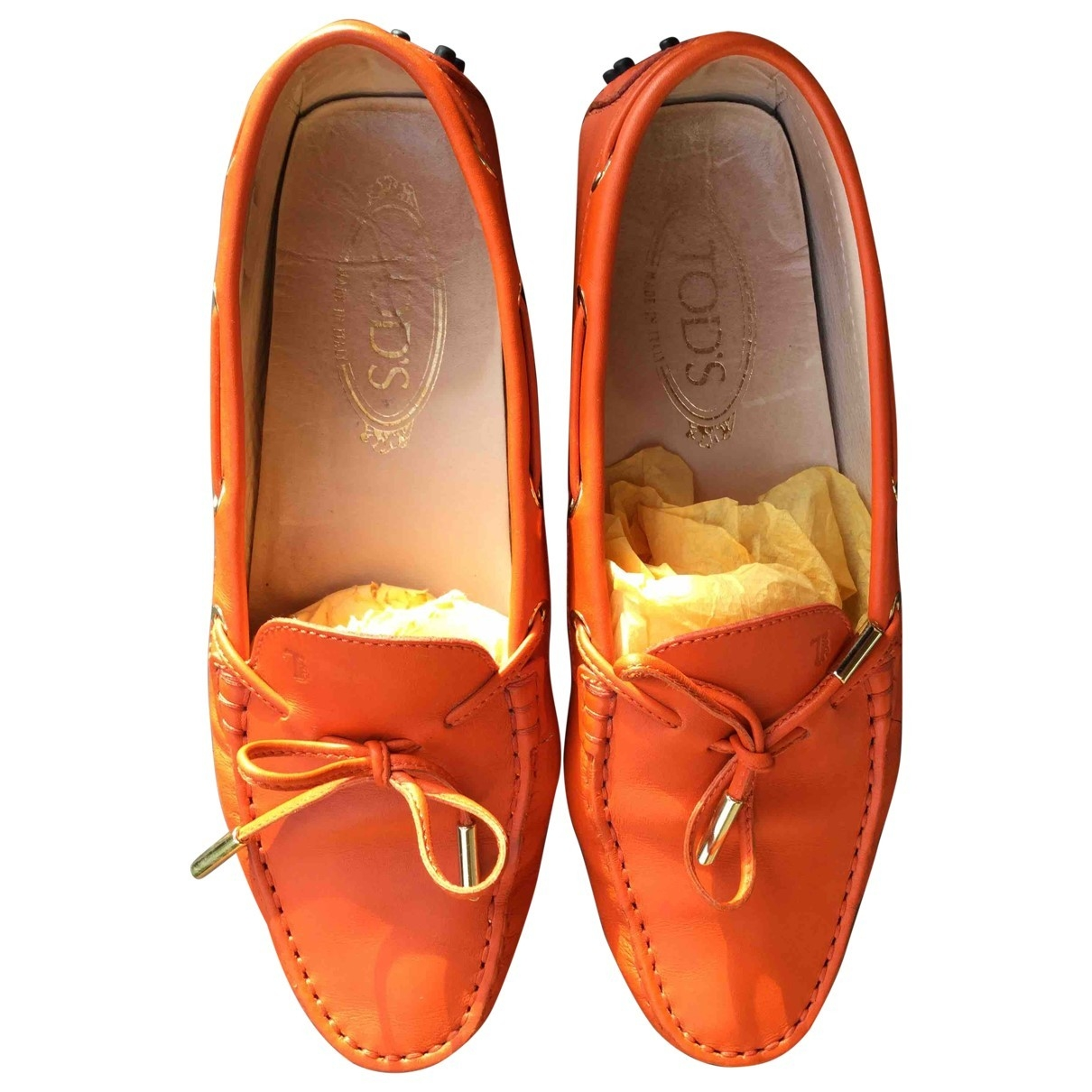 Tod's Gommino Orange Leather Flats for Women 38 IT