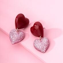Girls Geometric Heart Drop Earrings