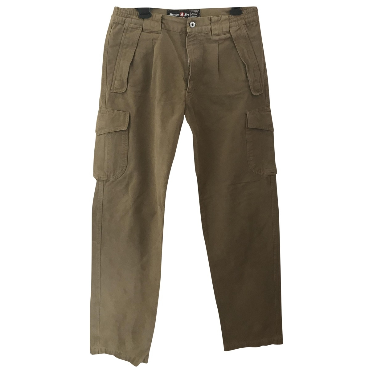 Non Signé / Unsigned \N Beige Cotton Trousers for Men 48 IT