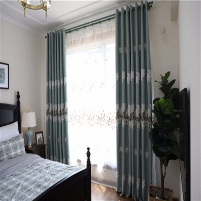 Elegant and Nobel Flowers Pattern 2 Panels Living Room Sheer Curtain