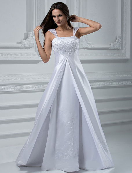 Milanoo White A-line Embroidery Satin Wedding Dress