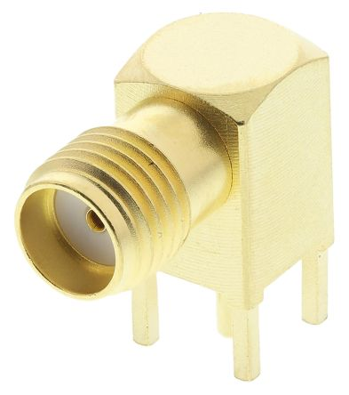Telegartner Right Angle 50Ω PCB Mount Coaxial Connector, jack, Gold, Solder Termination (5)