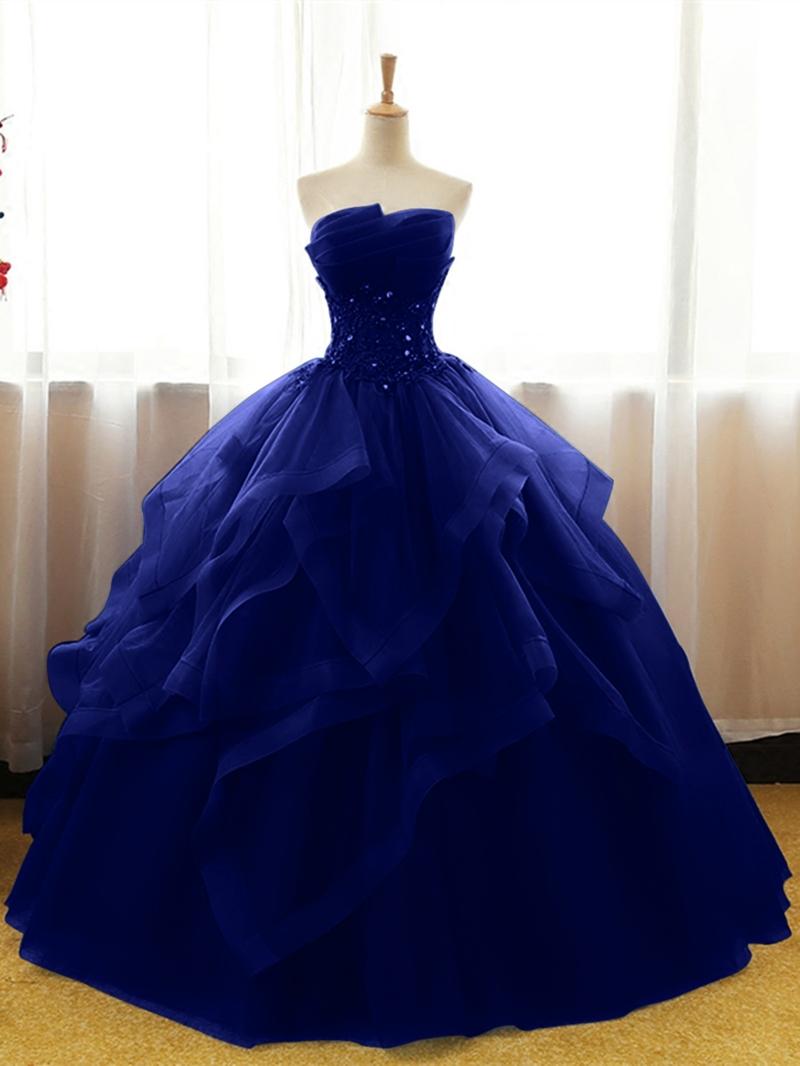Ericdress Strapless Applique Beaded Ball Quinceanera Gown