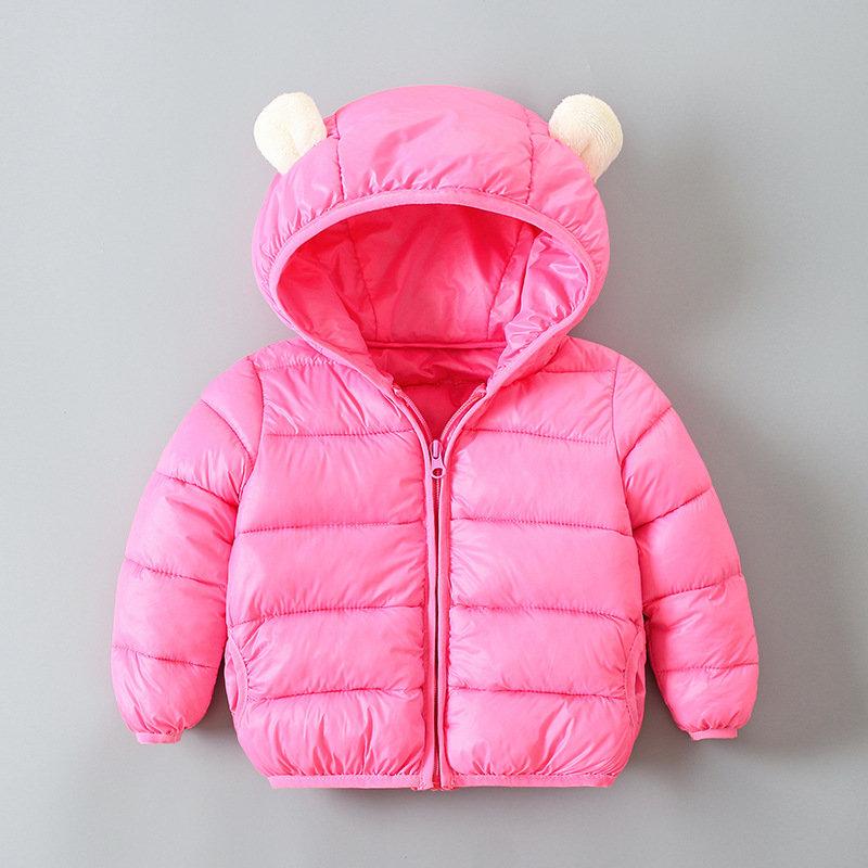 Cute Ears Girls Downs Parkas Boys Solid Color Winter Coat For 1Y-9Y