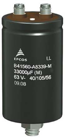 EPCOS 22000μF Electrolytic Capacitor 63V dc, Screw Mount - B41580A8229M000