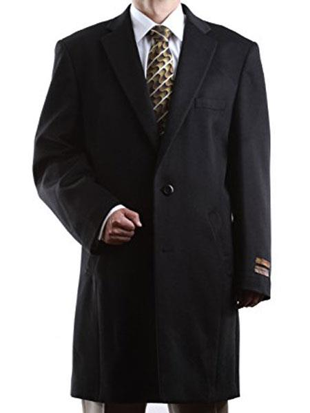 Notch Lapel 2 Buttons Three Quarter Length Wool/Cashmere Black Topcoat