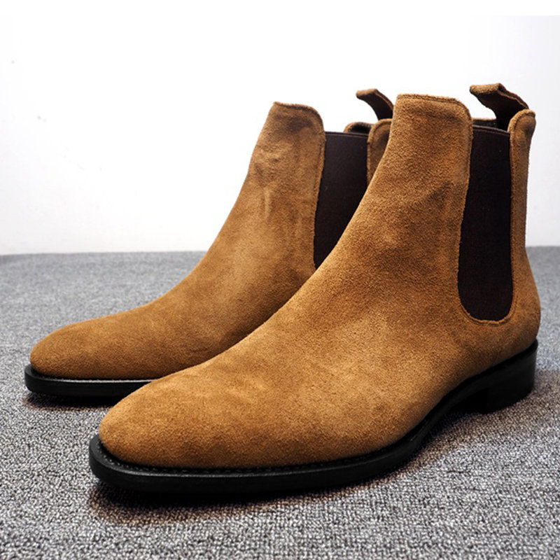 Men Synthetic Suede Elastic Panels Slip On Casual Boots