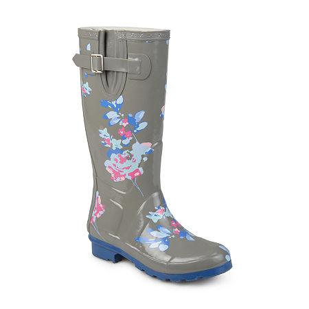 Journee Collection Womens Mist Rain Boots Water Resistant Block Heel, 7 Medium, Gray