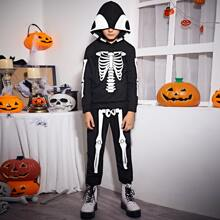 Boys Halloween Print Hoodie and Joggers Set