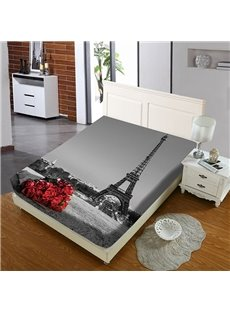 A Bouquet of Roses By The Eiffel Tower Reactive Printing 1-Piece Polyester Bed Cover / Mattress Cover