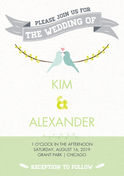Wedding Invitations 5x7 Cards, Premium Cardstock 120lb with Rounded Corners, Card & Stationery -Lovebirds Wedding Invite