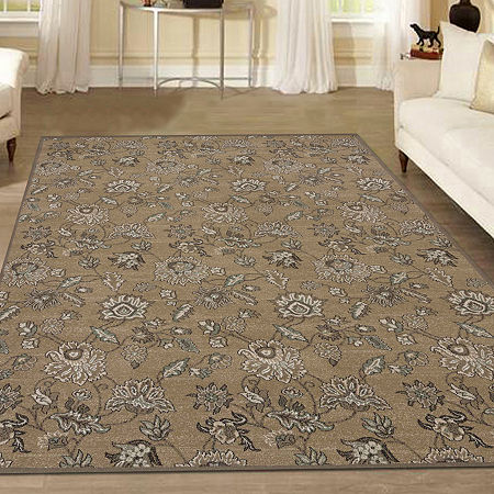 Pisa Floral Traditional Area Rug, One Size , Beige