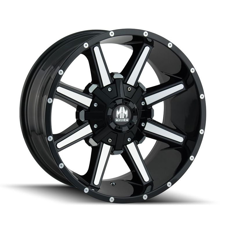 Mayhem Arsenal 8104 Gloss Black | Machined Face 17x9 6x135 | 6x139.7 -12mm 106mm Wheel