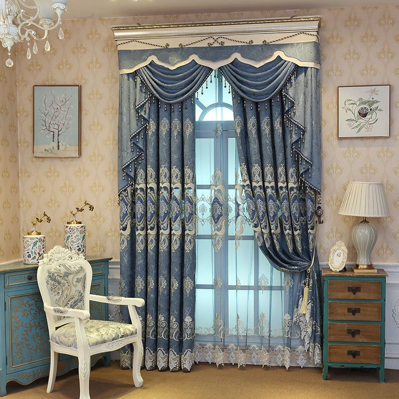 Elegant River Blue Embroidered Hollowed-out Designing Sheer Curtain