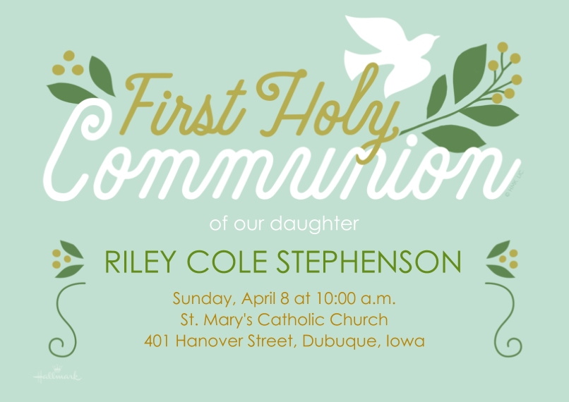 Communion 5x7 Cards, Premium Cardstock 120lb with Scalloped Corners, Card & Stationery -First Holy Communion Dove