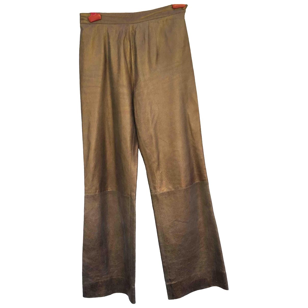 Jean-louis Scherrer \N Gold Leather Trousers for Women 34 FR