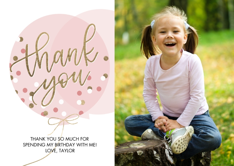 Thank You Cards Flat Matte Photo Paper Cards with Envelopes, 5x7, Card & Stationery -Thank You Balloon Dots by Tumbalina
