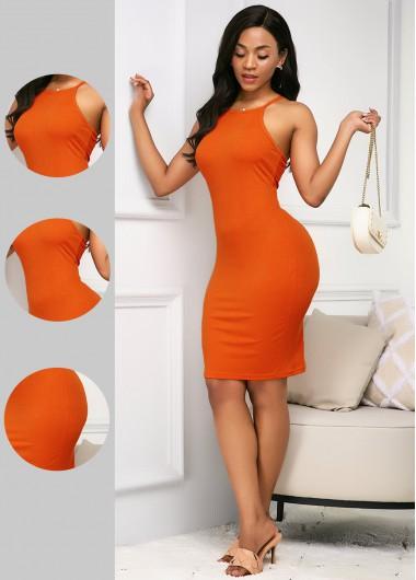 Rosewe Women Orange Bib Neck Sleeveless Sheath Midi Dress Solid Color Knee Length Casual Dress - S