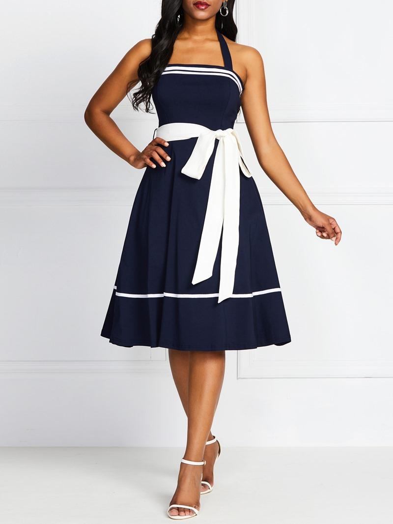 Ericdress Color Block Sleeveless Mid-Calf Bowknot Summer High Waist Dress