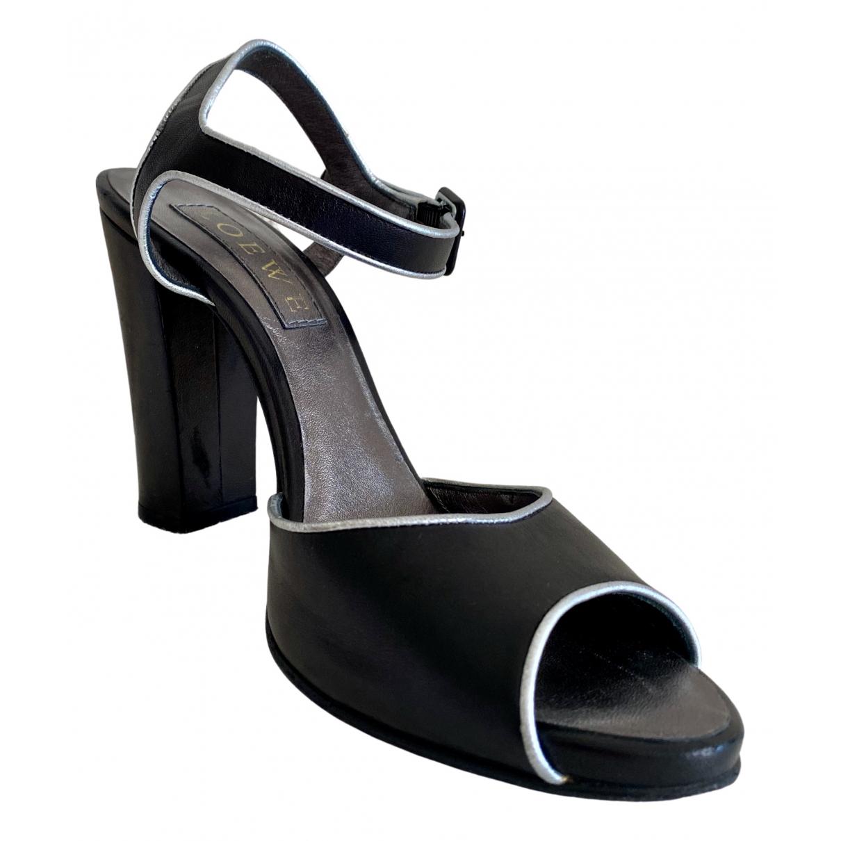Loewe \N Black Leather Heels for Women 38 EU