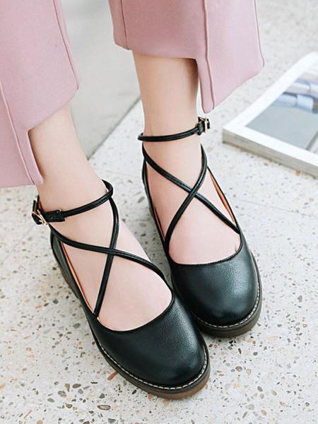 Milanoo Lolita Footwear Black PU Leather Criss Cross Lolita Pumps