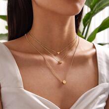 3pcs Heart & Geometric Charm Necklace