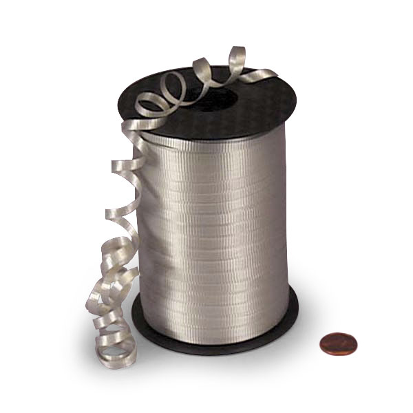 Flat Silver Crimped Curling Ribbon 3/16
