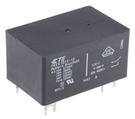 TE Connectivity , 12V dc Coil Non-Latching Relay DPST, 30A Switching Current PCB Mount, 2 Pole