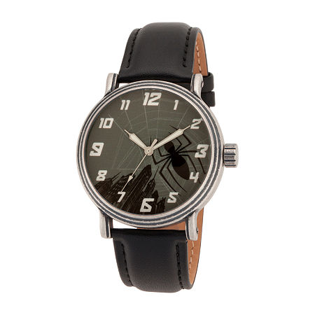 Marvel Marvel Mens Black Leather Strap Watch-Wma000360, One Size , No Color Family
