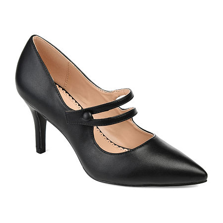 Journee Collection Womens Sidney Pumps Block Heel, 6 1/2 Medium, Black