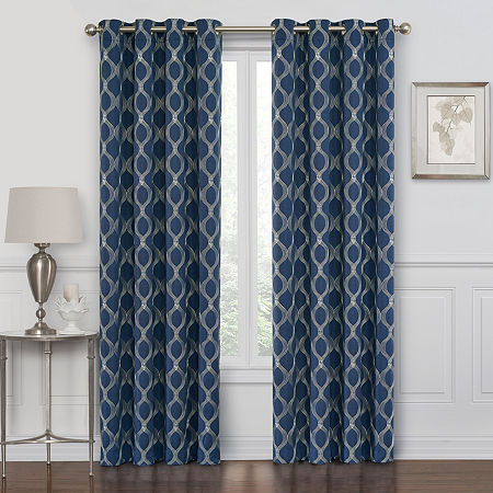 Maxx Blackout Prescott Embroidered 100% Blackout Grommet-Top Single Curtain Panel, One Size , Blue