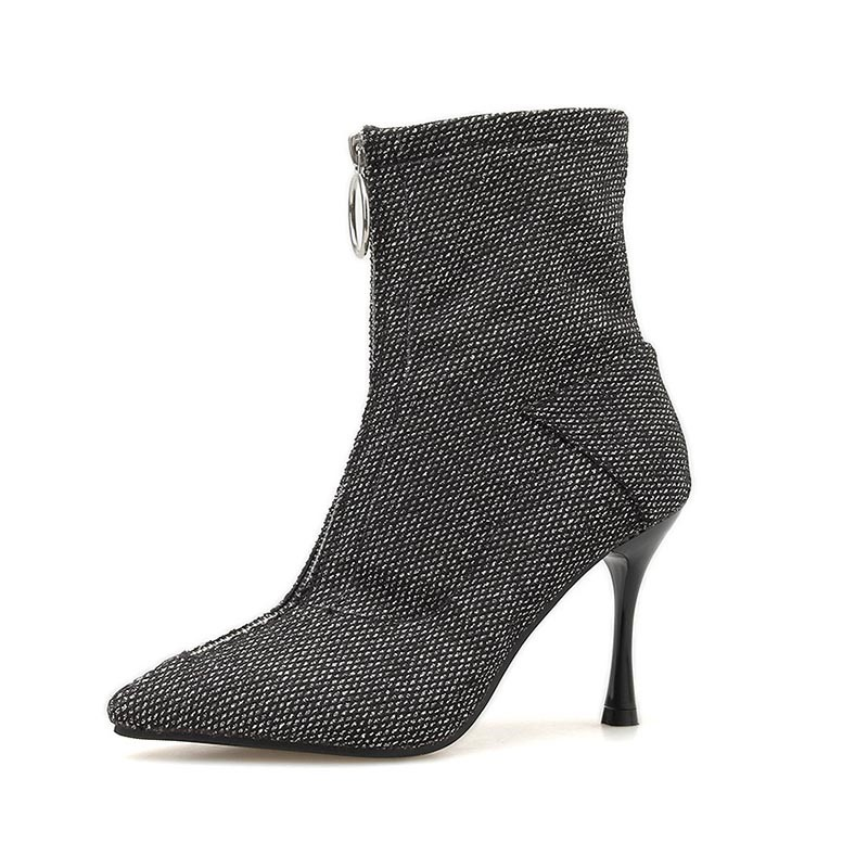 Ericdress Pointed Toe Front Zipper Stiletto Heel Women's Ankle Boots
