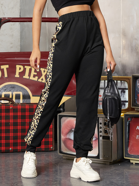 YOINS Black Elastic Strap Leopard patchwork Pants