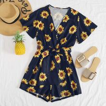 Allover Sunflower Print Surplice Front Belted Romper