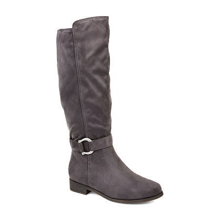 Journee Collection Womens Cate Wide Calf Stacked Heel Zip Riding Boots, 8 1/2 Medium, Gray