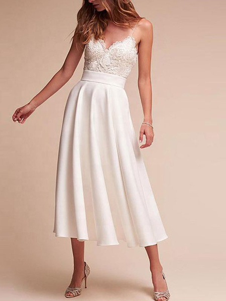 Milanoo Short Wedding Dress V Neck Sleeveless A Line Tea Length Straps Bridal Gowns