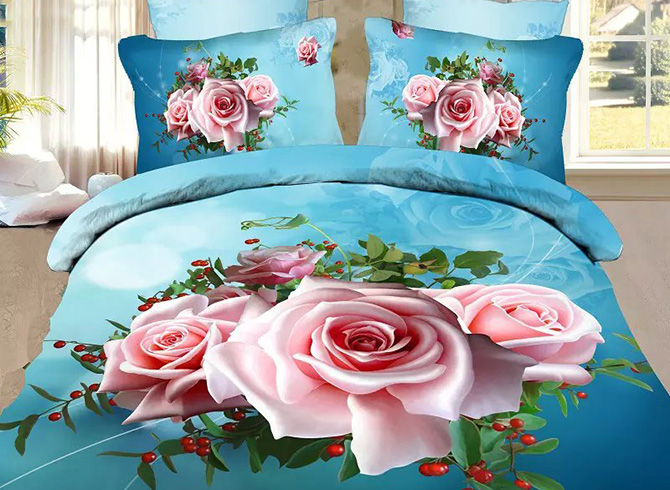 Fancy Pink Flowers Print Sky Blue 4-Piece Polyester Duvet Cover Sets