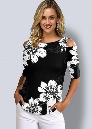 Half Sleeve Floral Print Cold Shoulder T Shirt - XL