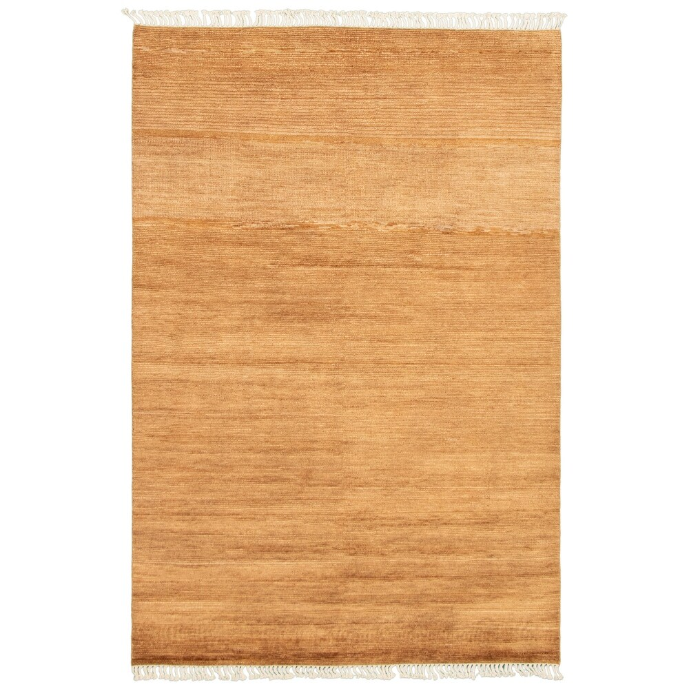 ECARPETGALLERY  Hand-knotted Pak Finest Gabbeh Tan Wool Rug - 6'0 x 9'0 (Tan - 6'0 x 9'0)