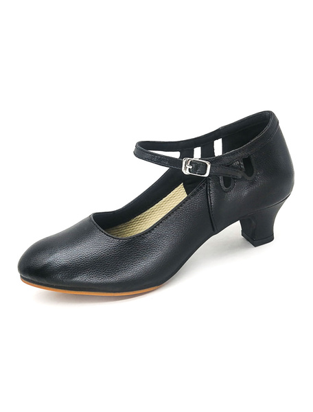 Milanoo Latin Dance Shoes Cowhide Pointed Toe Buckle Detail Ballroom Shoes Women Character Shoes