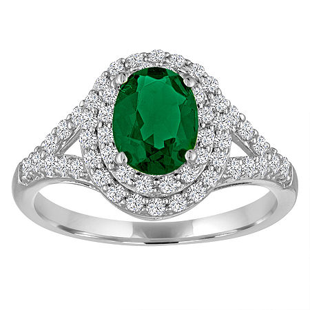 Simulated Emerald & Lab-Created White Sapphire Sterling Silver Ring, 6 , No Color Family