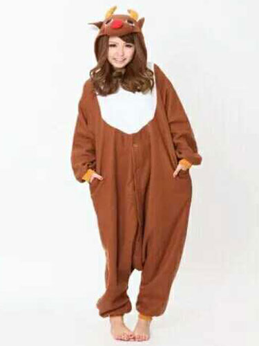 Milanoo Kigurumi Pajamas Reindeer Onesie Brown Flannel Animal Winter Sleepwear Unisex For Adults Halloween