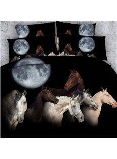 Horse under the Moon Printed Cotton 3D 4-Piece Black Bedding Sets/Duvet Covers