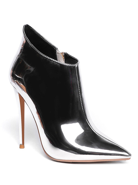 Milanoo Women Ankle Boots Light Gold PU Leather Pointed Toe Stiletto Heel High Heel Booties