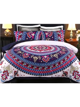 Paisley Bohemian Style Dark Blue and White Pattern 4-Piece Bedding Sets/Duvet Cover