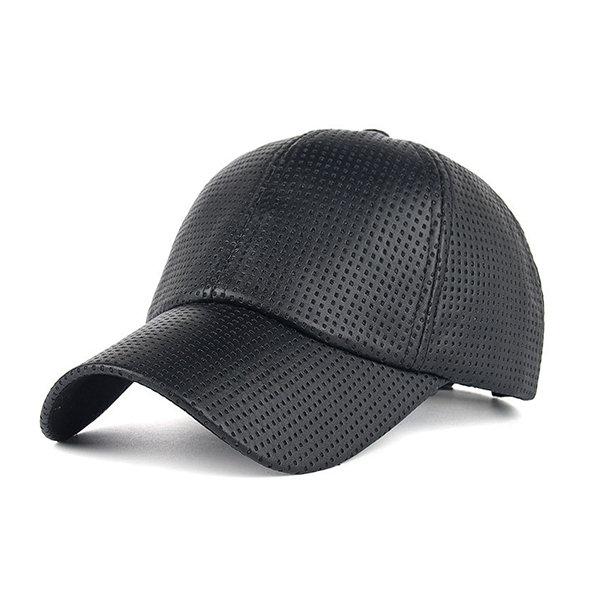 Men Sunshade PU Leather Baseball Cap Outdoor Breathable Mesh Golf Hat