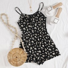 Plus Tie Neck Ruched Bust Daisy Floral Slip Romper